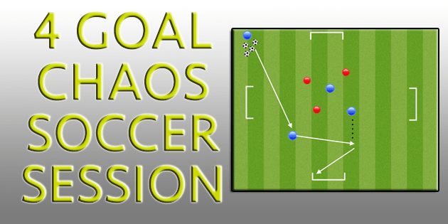 youth soccer attacking drills  4 goal chaos